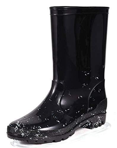 Women Rain Boots Garden Shoes Short Waterproof Mid Calf Mid Height Classic Short Ultra Wide Lightweight Chunky Heel Comfort Insole Non Slip Sole Fashion Outdoor Work Gardening Shoes Black Size 6