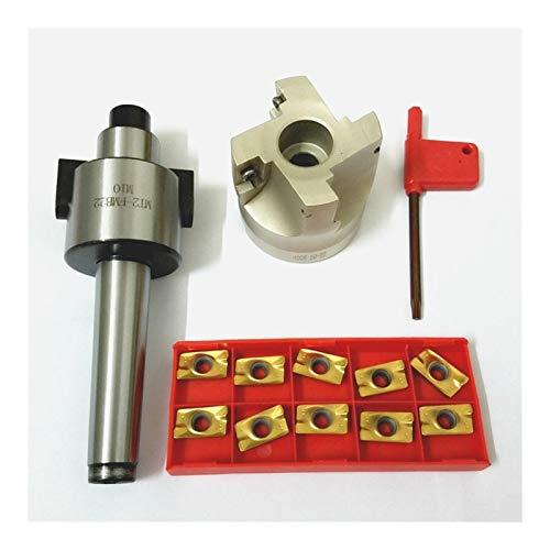 QWXZ Holzwerkzeuge MT2 400R 50mm Gesichts-Schaftfräser mit 10 Stück APMT1604 Karbid-Einsätze mit Wrench Stanzpositionierung