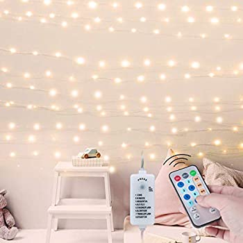 USB Fairy String Lights with Remote and Power Adapter 66 Feet 200 Led Firefly Lights for Bedroom Wall Ceiling Christmas Tree Wreath Craft Wedding Party Decoration Warm White