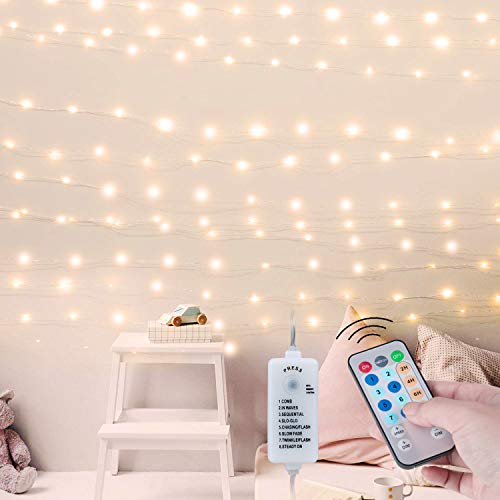 USB Fairy String Lights with Remote and Power Adapter, 66 Feet 200 Led Firefly Lights for Bedroom...