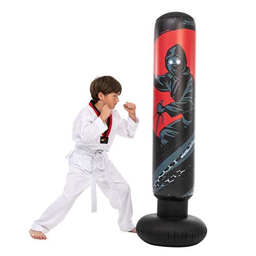 JOYIN Saco de boxeo inflable de 5 pies 3 pulgadas para niños, bolsa de boxeo Ninja de pie libre para rebote inmediato para practicar karate, taekwondo