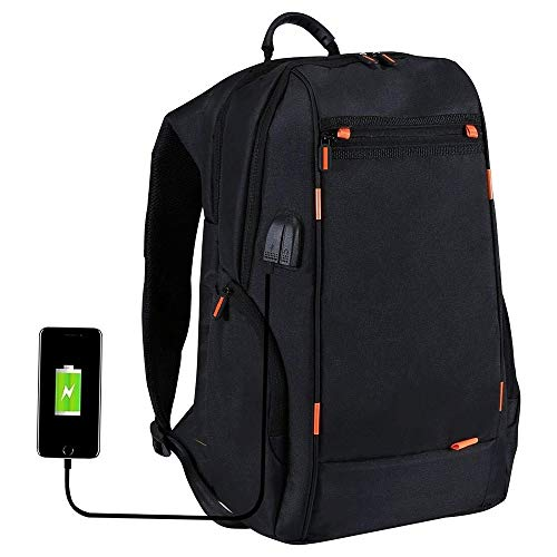 KK Zachary Multifunctional Comfortable Breathable Casual Backpack Portable Outdoor Laptop Bag Portable USB Charging/Headphone Hole Black