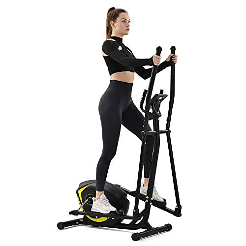 Gona Bicicleta elíptica para el hogar, con asas de frecuencia cardíaca, sistema de frenado magnético, 8 ajustes de resistencia, hasta 120 kg (amarillo)