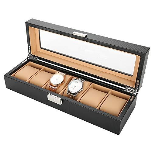 Caja de relojes de madera maciza, relojes para 6 relojes, expositor, caja de almacenamiento, expositor para relojes, joyas, organizador y visualización