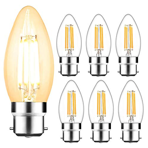 Svater 6 Pack B22 LED Filament Candle Bulb, 4W C35 Shape 6 Pack 40W Incandescent Bulb Equivalent Warm White 2700K 360 Grad Beam Angle Non-Dimmable