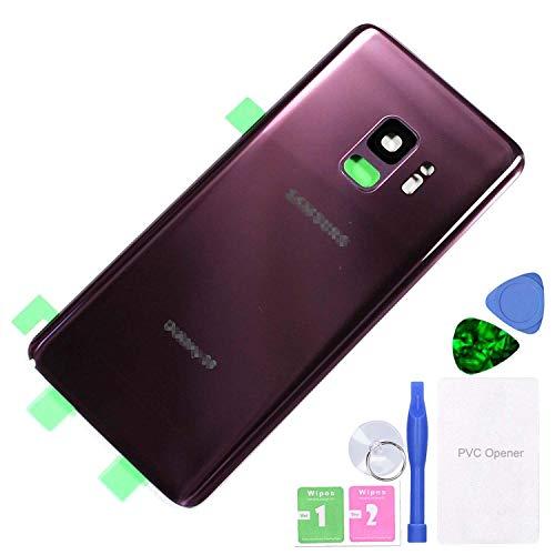 MovTEK Tapa Trasera de Cristal de Batería Trasero Original para Samsung Galaxy S9 G960F con Lente de Cámara (Lila Morado)