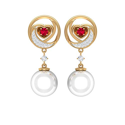 Heart Wedding Earrings, Ruby Drop Earrings, 12 CT 9 MM Freshwater Pearl Earring, HI-SI Diamond Dangle Earring, Vintage Statement Earring (AAA Quality), 14K Yellow Gold, Pair