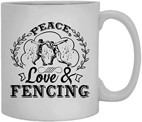 N\A Taza de café de cerámica del Amor y de la esgrima de la Paz, Taza de café de la Mano