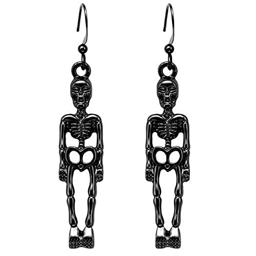 Aidou Pendientes de calavera de Halloween para orejas de oreja, aretes de gancho para la oreja, joyería divertida para hombres y mujeres