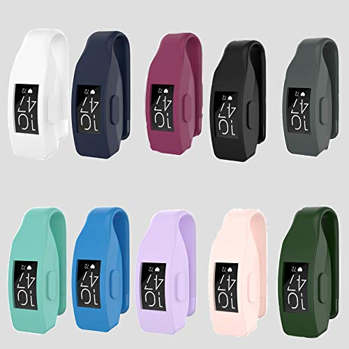 aczer-Y Fitbit Inspire 2, Inspire HR, Inspire, Fitbit Ace 2 Clip Holder Replacement, 12 Color Soft Silicone TPU Protective Cover Case Poket Clip Smartwatch Shock-Proof for Fitbit Ace2 inspire2