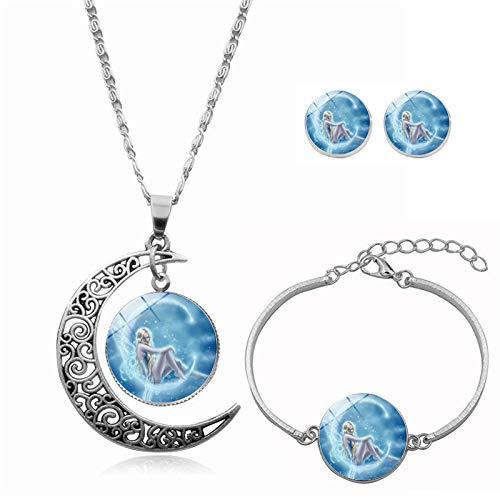 Collar de tres piezas con piedras preciosas, piedras preciosas hechas a mano, antialérgicas, anticolor.