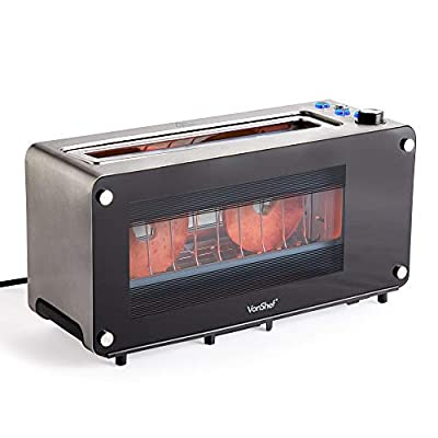 VonShef Glass Toaster - 2 Slice See Through Toaster with Automatic Lower Function, 7 Stage Browning Control, 32mm Wide Slots, Bagel and Defrost Functions - 1200W