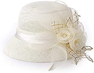 Lei Zhang Ladies hat Linen Fashion Visor Sun hat Sun hat (Color : Yellow, Size : M56-58cm)