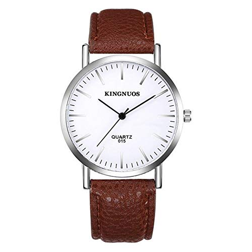 ZSDGY Reloj de Cuero con diseño Litchi, Reloj electrónico Simple y Elegante, Reloj con Esfera geométrica Masculina y Femenina D