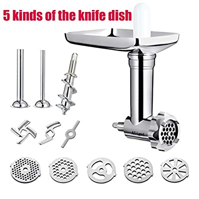 Metal Food Grinder Attachment for KitchenAid Stand Mixers Includes Sausage Stuffer Tubes,Durable Meat Grinder Food Processor Attachment for kitchenAid?With a wealth of accessories