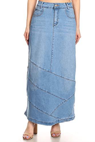 Women's Juniors High Rise Pencil Long Jeans Maxi Denim Skirt in Light Blue Size L