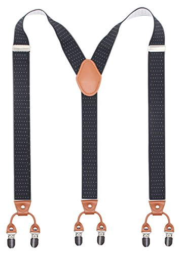 Bioterti Men's Y-Shaped Heavy Duty Suspenders – 6 Metal Clips, Elastic Straps