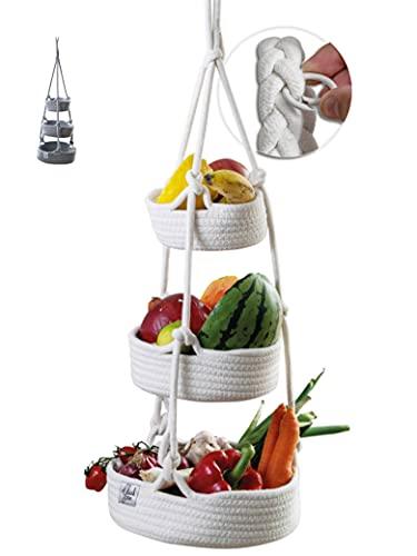 Glückstoff® Obstkorb hängend [Nachhaltig] aus geflochtener Baumwolle (135cm Höhe) Hängekorb mit 3 Etagen zur Aufbewahrung von Obst   Vintage Retro Küchen-Deko   Wohnzimmer Flechtkorb Etagere (Weiß)