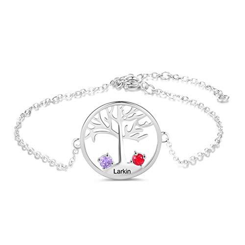 Pulsera Personalizado del Árbol de la Vida con Nombre Grabado Plata Pulsera Madre e Hija de Mujer Regalo para Navidad Cumpleaños Día de la Madre
