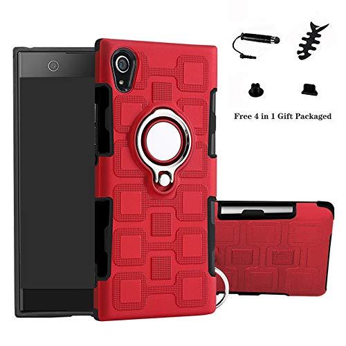 LFDZ Sony Xperia XA1 Hülle, 360 Rotation Verstellbarer Ring Grip Stand,Ultra Slim Fit TPU Schutzhülle für Sony Xperia XA1{Not fit XA1 Ultra} (mit 4in1 Geschenk Verpackt),Rot