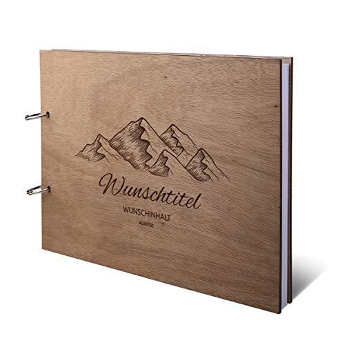 Ferienwohnung Gästebuch Okoume Holzcover mit individueller Gravur inkl. 72 Naturpapier Blätter DIN A4 quer 302 x 215 mm - Berge