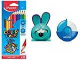 Maped - Kit de coloración con 12 lápices de colores + goma Zenoa azul + sacapuntas de croc conejo azul