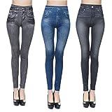 jfan leggings da donna leggings elasticizzati casual attillati a vita alta con stampa in denim