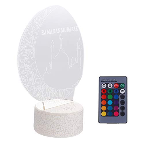 Uonlytech 3D Ramadan Mubarak Night Light Islam Church USB Touch Remote Control 7 Color Light for Eid Party Decor Light Friends Believers Gifts