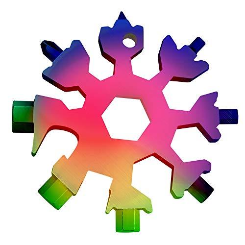 18-in-1 Schneeflocke Multi Tool Edelstahl Regenbogen, Outdoor Werkzeug, tragbares Werkzeug, Multifunktionstool Männer Geschenk inkl. Box