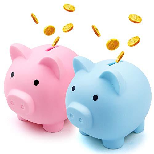 Fireboomoon 2 Pack Plastic Cute Pig Money Bank,Unbreakable Piggy...