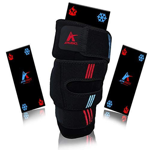 Ice Pack Knee Compression Brace with Hot & Cold Therapy Wrap for Pain Relief for Athletic Injuries, Soreness, Arthritis, Meniscus Tear, ACL, MCL - Support and Fast Recovery for Men & Women - Fits Most