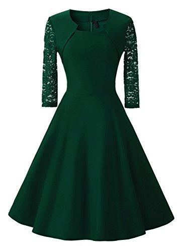 Damen Abendkleid mit angenähtem Bolero und 3/4 Ärmel, (Kostor) A-line und Empire Taille Kleider, Knielang Elegant Cocktailkleid mit Spitzen- - Dunkelgrün - S