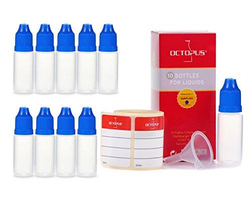 Octopus 10 x 10 ml Liquidflaschen mit Trichter + Etiketten, z.B. für E-Liquids + E-Zigaretten, Plastikflaschen aus PE LDPE, Liquid Dosierflaschen, Tropfflaschen BZW. Quetschflaschen + Blaue Deckel