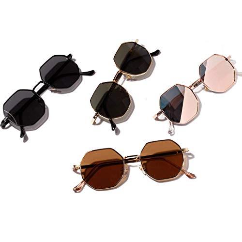 BARCUR Gafas de sol poligonales Retro unisex, redondas, Vintage, con montura pequeña, color Espejo, 2021.UV400