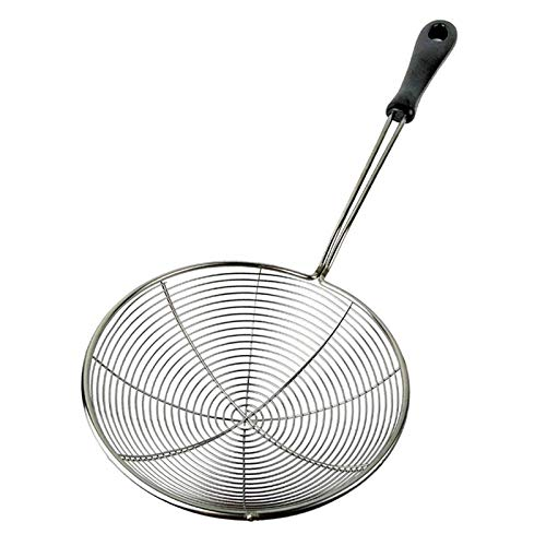 Stainless Steel Spider Strainer, 6.3 Inch Asian Cooking Tools Wire Skimmer Ladle Scoop for Frying Food Drain Pasta Noodle, Stay Cool Handle with Hook for Easy Storage, Food Recipe Ebook Included