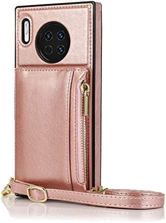 SLDiann Case for Huawei Mate 30, Zipper Wallet Case with Credit Card Holder/Crossbody Long Lanyard, Shockproof Leather TPU Case Cover for Huawei Mate 30 (Color : Rosegold)