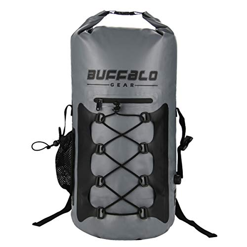 Buffalo Gear 30 Cans Leak-Proof Soft Backpack Cooler Waterproof Insulated Soft Side Cooler Bag for Hiking, Camping, Sports, Picnics, Sea Fishing, Road Beach Trip - Grey,35 L