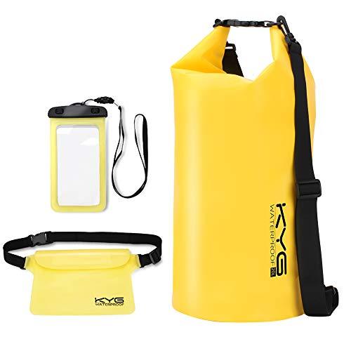 Premium bolsa estanca20L impermeable seca PVC- Set de bolsa estanca con funda táctil de móvil y bolsa cintura para playa y deportes al aire(rafting/kayak/senderismo/esquí/pesca/escalada/camping)