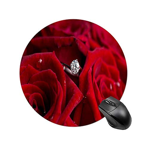 Gaming Mouse Pad Red Roses and Diamonds Art Desktop and Laptop 1 Pack Round Mouse mat