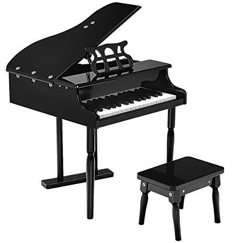 COSTWAY 30 Tasten Kinderklavier, Standkeyboard aus Holz, Kinderpiano, Mini-Piano, Kinder Keyboard Musikspielzeug, Musikinstrument für Kleinkind und Kinder, inkl. Notenpult und Sitzbank (schwarz)