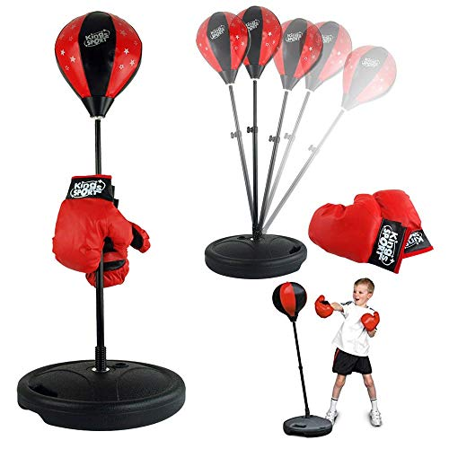 Liberty Imports Sport Boxing Set Punching Bag with Gloves - Punching Ball for Kids Adjustable Height (43 Inches)