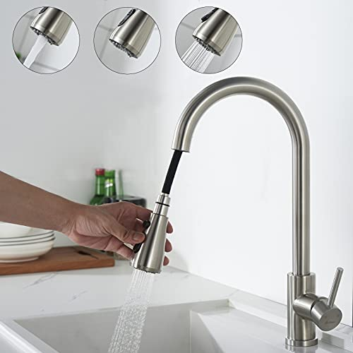 AIHOM Küchenarmatur Ausziehbar Edelstahl Wasserhahn Küche mit 3 Modus,Spültischarmatur Ausziehbar Armatur Küche 360° Drehbar,Hochdruck Einhand-Spültischbatterie Mischbatterie aus Messing