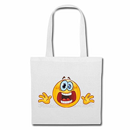Tasche Umhängetasche ERSCHROCKENER ÄNGSTLICHER Smiley Smileys Smilies Android iPhone Emoticons IOS GRINSE Gesicht Emoticon APP Einkaufstasche Schulbeutel Turnbeutel in Weiß