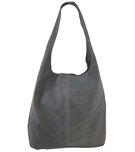 Freyday Damen Ledertasche Shopper Wildleder Handtasche Schultertasche Beuteltasche Metallic look (Dunkelgrau)