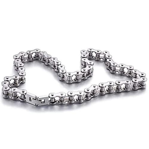 Luzhimx - Collares para hombre y moto, de acero, 55 cm
