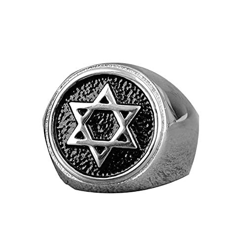 Judaísmo Hexagrama Estrella De David Anillos De Acero Inoxidable Para Hombre Punk Hip Hop Para Hombre Boy Biker Jewelry 13 Silver