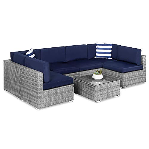 Best Choice Products 7-Piece Modular Outdoor Sectional Wicker Patio Furniture Conversation Set w  6 Chairs, 2 Pillows, Seat Clips, Coffee Table, Cover Included - Gray Navy
