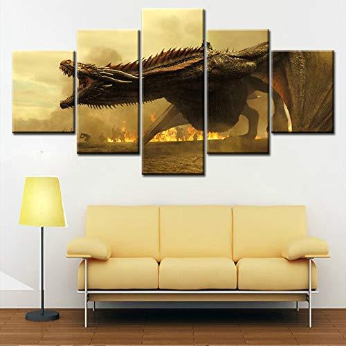 Canvas poster 5 panel muur kunst draak schilderij moderne woondecoratie retro foto woonkamer ingelijst