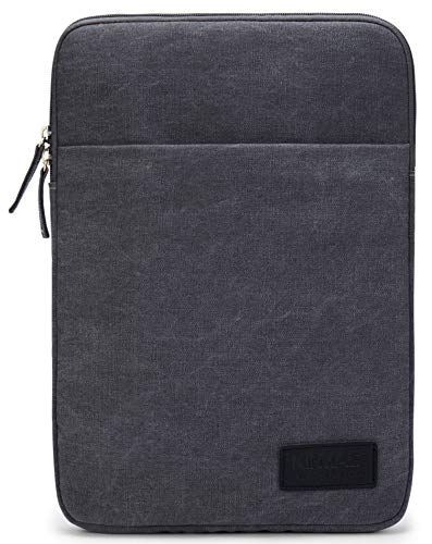 Kinmac 360°Protective Canvas Vertical Waterproof Laptop Sleeve with Pocket for 13 inch-13.5 inch Laptop and Old MacBook Air 13',Old MacBook Pro 13',Microsoft Surface Laptop Book 13.5'(Grey)
