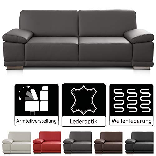 CAVADORE 3,5-Sitzer Sofa Corianne in Kunstleder / Große Leder-Couch in hochwertigem Kunstleder und modernem Design / Mit Armteilfunktion / 248 x 80 x 99 / Kunstleder grau
